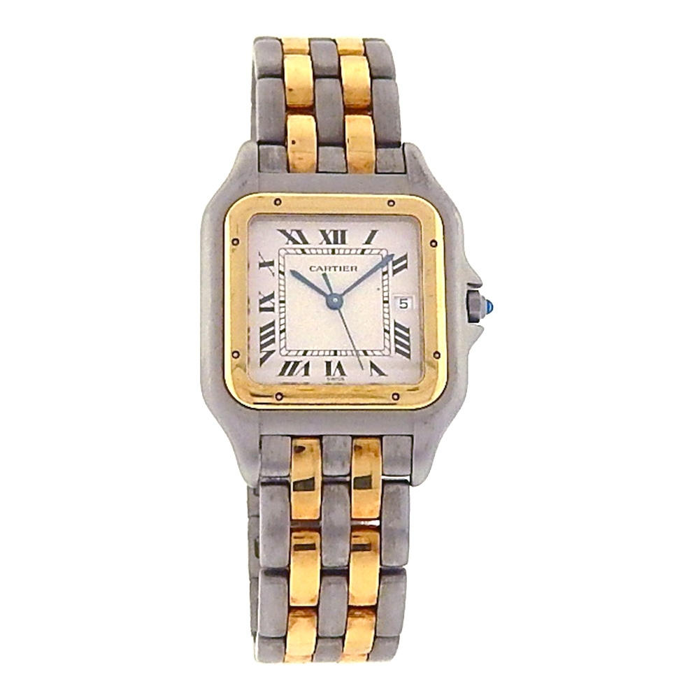 Men 18k Gold and Stainless Steel two tone Cartier Panthere Bracelet Dress  Watch