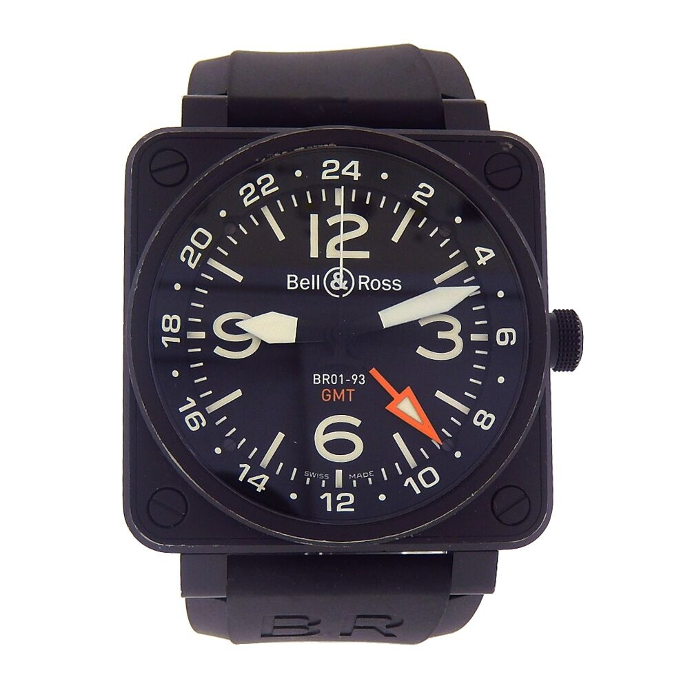 6f94a8e289f Bell   Ross BR01-93 Aviation GMT Black PVD Stainless Steel ...