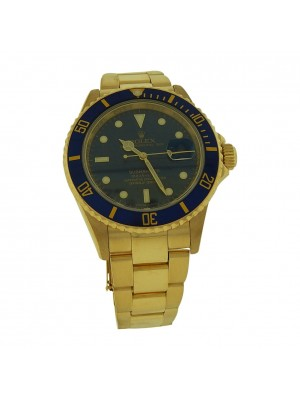Men's Rolex Submariner 18K Yellow Gold Blue Dial  Z Serial Automatic Dress / Sports Watch