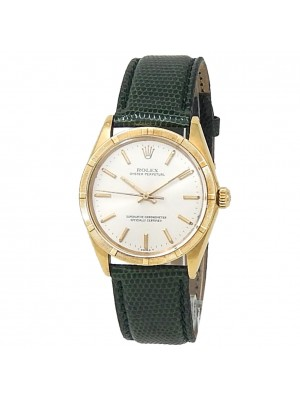 Rolex Oyster Perpetual 18k Yellow Gold Green Leather Auto Silver Mens Watch 1007