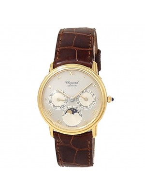 Chopard Luna D'oro 18k Yellow Gold Brown Leather Auto Silver Ladies Watch 1135