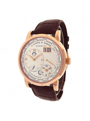 A.Lange & Sohne Lange 1 Time Zone 116.032 18k Rose Gold Manual Silver Men Watch
