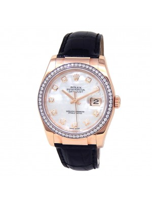 Rolex Datejust 18k Rose Gold Leather Diamonds Mother of Pearl Men's Watch 116185