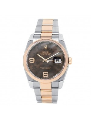 Rolex Datejust 18k Rose Gold Steel Oyster Chocolate Floral Men's Watch 116201