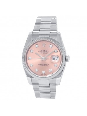 Rolex Datejust Stainless Steel Oyster Automatic Diamonds Pink Men's Watch 116234