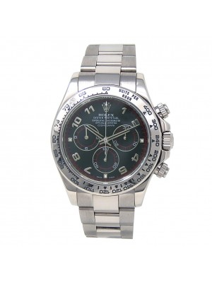 Rolex Daytona 18k White Gold Oyster Chronograph Black Men's Watch 116509