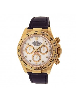 Rolex Daytona 116518 18k Gold Chronograph Leather Automatic White Men's Watch