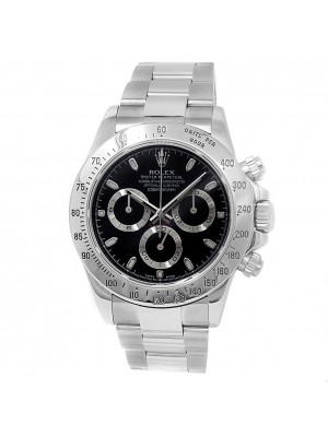 Rolex Daytona Stainless Steel Oyster Chronograph Auto Black Men's Watch 116520