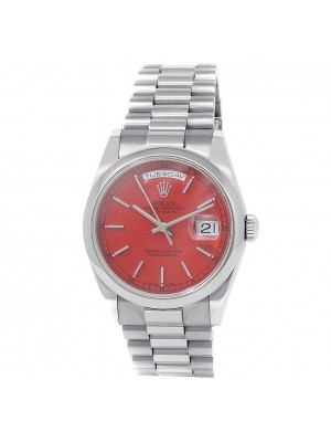 Rolex Day-Date 18k White Gold President Automatic Red Men's Watch 118209