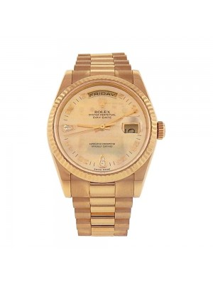 Rolex Day Date President 18K Yellow Gold Fluted Bezel Automatic Men Watch 118238