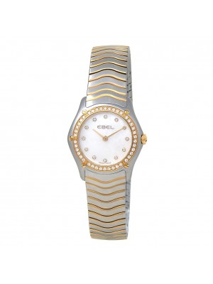 Ebel Classic Diamonds Stainless Steel 18k Yellow Gold MOP Ladies Watch 1215271