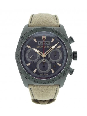 Tudor Black Shield 42000CN Ceramic Chronograph Mens Automatic Suede Watch