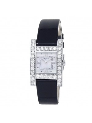 Chopard H Diamond 18k White Gold Leather Quartz Mother of Pearl Watch 13/6621