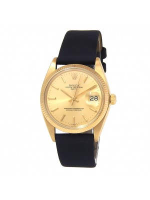 Rolex Date 18k Yellow Gold Black Leather Automatic Champagne Men's Watch 1503