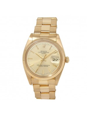 Rolex Date 18k Yellow Gold Oyster Automatic Champagne Men's Watch 1503