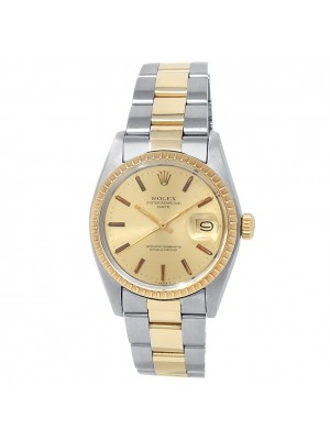 Rolex Oyster Perpetual Date 18k Yellow Gold Steel Oyster Champagne Watch 1505