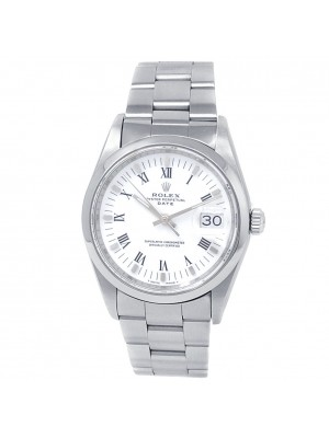 Rolex Date Stainless Steel Oyster Automatic White Men's Watch 15200