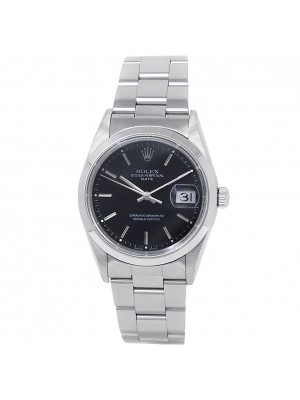 Rolex Date Stainless Steel Oyster Automatic Black Men's Watch 15200