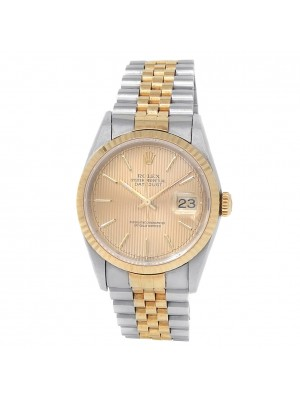 Rolex Datejust 18k Yellow Gold Stainless Steel Auto Champagne Men's Watch 16233
