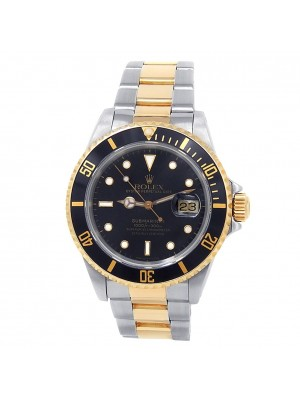 Rolex Submariner 18k Yellow Gold Steel Oyster Automatic Black Mens Watch 16613