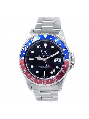 Rolex GMT-Master Stainless Steel Oyster Automatic Pepsi Black Men's Watch 16700