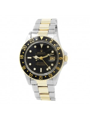 Rolex GMT-Master 18k Yellow Gold Stainless Steel Oyster Black Men's Watch 16753