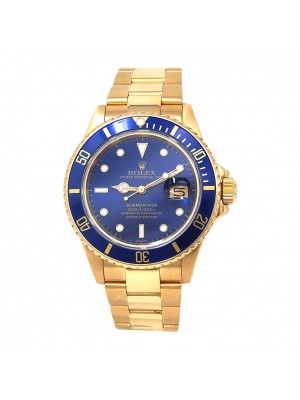 Rolex Submariner 18k Yellow Gold Blue Dial and Bezel Automatic Men's Watch 16808
