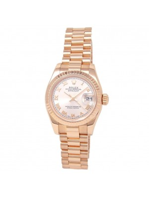 Rolex Datejust 18k Rose Gold President Automatic Pink Ladies Watch 179175