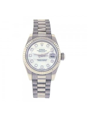 Rolex Datejust 18k White Gold Fluted Bezel Diamond Dial Automatic Watch 179179