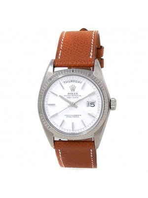 Rolex Day-Date 18k White Gold Brown Leather Automatic White Men's Watch 1803