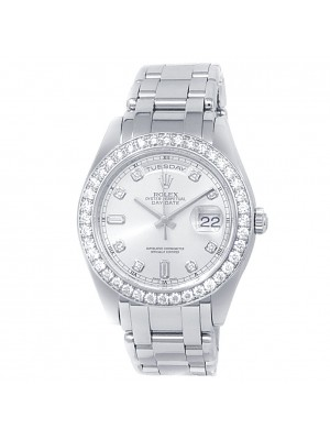 Rolex Day-Date Pearlmaster Platinum Automatic Diamonds Silver Men's Watch 18946