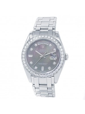 Rolex Day-Date Pearlmaster Masterpiece Platinum Auto Mother of Pearl Watch 18946