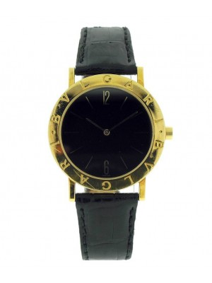 Bvlgari Bulgari Yellow Gold Black Dial Deployment Buckle Leather Unisex Watch