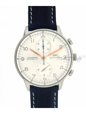 IWC Portuguese Chronograph IW371445 Stainless Steel Black Leather Men's Watch