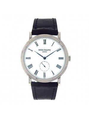 Patek Philippe Calatrava 5119G 18K White Gold Leather Manual Wind Mens Watch