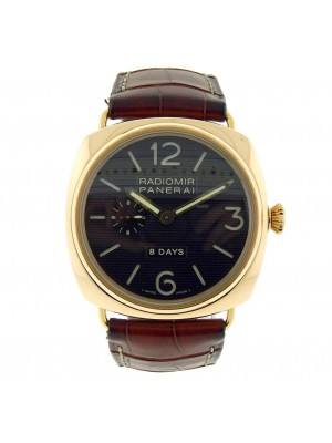 Panerai Radiomir 8 Days Power Reserve PAM00197 18K Rose Gold Leather Mens Watch