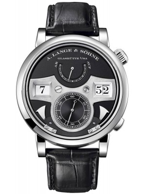 A Lange & Soehne Zeitwerk Striking Time 145.029 Black Leather Strap Manual Watch