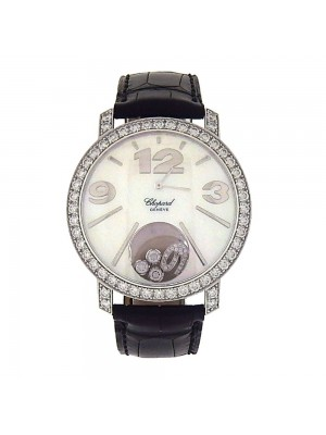 Chopard Happy Diamonds 18K White Gold Diamond Case Bezel Quartz Watch 2074501002