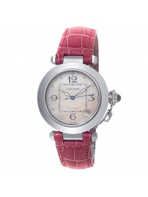 Cartier Pasha C Stainless Steel Leather Pink Mother of Pearl Ladies Watch 2324