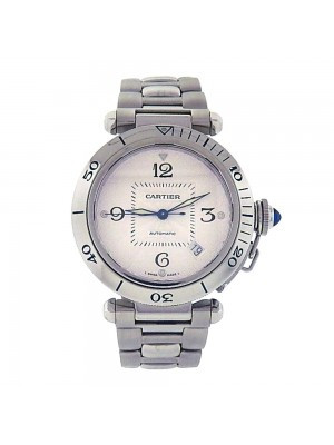 Cartier Pasha Stainless Steel Silver Dial Date Display Automatic Mens Watch 2379