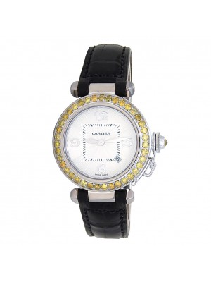 Cartier Pasha 18k White Gold Automatic Ladies Watch 2398