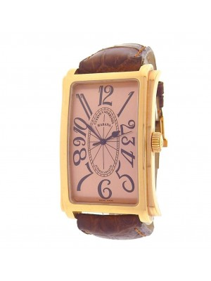 Cuervo Y Sobrinos Prominente 01011 18K Rose Gold Brown Leather Rose Men's Watch