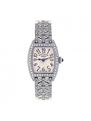 Franck Muller Cintree Curvex 2500 QZD 18k White Silver Ladies Watch