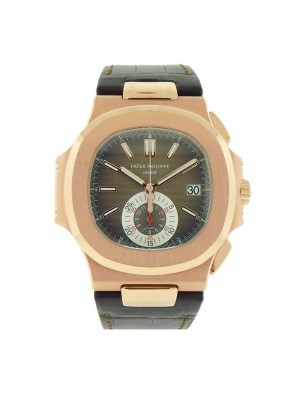 Patek Philippe Nautilus 5980R-001 Rose Gold Monocounter Chronograph Mens Watch