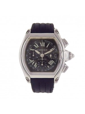 Men Cartier Roadster Steel Automatic Chronograph Black Dial Model No 2618 Watch