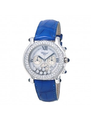 Chopard Happy Sport Round 18k White Gold Quartz Ladies Watch 28/3335-23