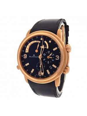 Blancpain Leman 2841-36B30-64B 18k Rose Gold Leather Automatic Black Men's Watch