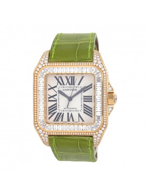 Cartier Santos 100 18k Yellow Gold Automatic Men's Watch 2857