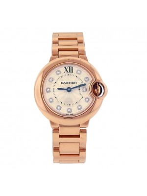 Ladies 18k Solid Rose Gold Full Bracelet Cartier Ballon Bleu Diamond Dress Watch