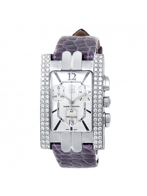 Harry Winston Avenue A 18k White Gold Auto Diamonds Silver Ladies Watch 310UCQW